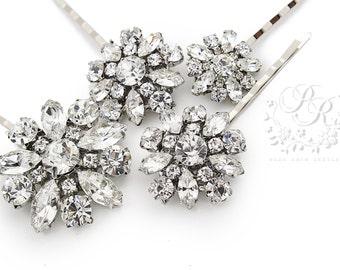 Wedding Hair Pin set of 4 Rhinestone Bobby Pin Bridal Bobby Pin Wedding Accessory Wedding Jewelry Bridesmaid Gifts Bridesmaid Pins daisy