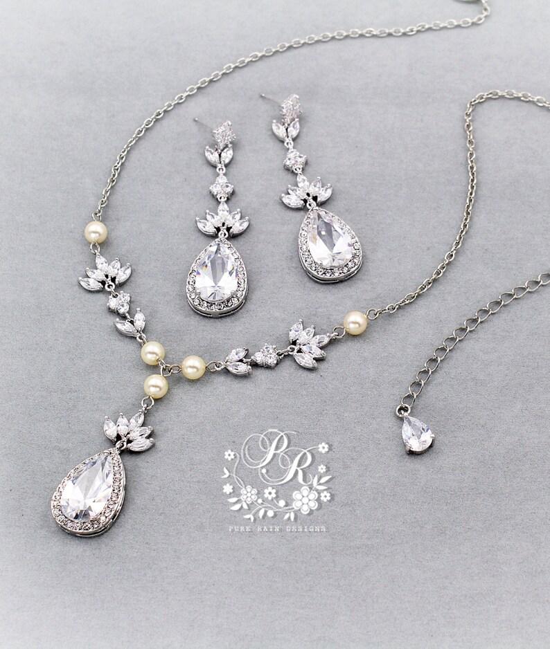 bfb462498 Wedding Necklace Earrings Swarovski Pearl Zirconia Necklace   Etsy