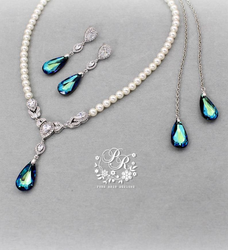 b8eae1e46 Wedding Necklace Earring Swarovski Bermuda Blue Backdrop   Etsy