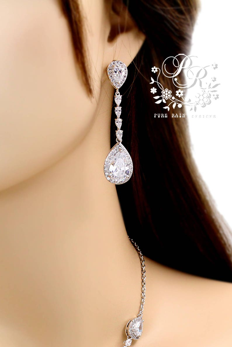 Wedding Necklace set Wedding Earrings Zirconia Bridal Necklace Bridal Earrings set Wedding Jewelry set Bridal backdrop Bridal Jewelry Boja