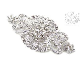 Wedding brooch Rhinestone brooch adornment, Sash Applique, Buckle, Hair comb, Clutch Bridal Jewelry Wedding Accessory Bridal Brooch Aimee
