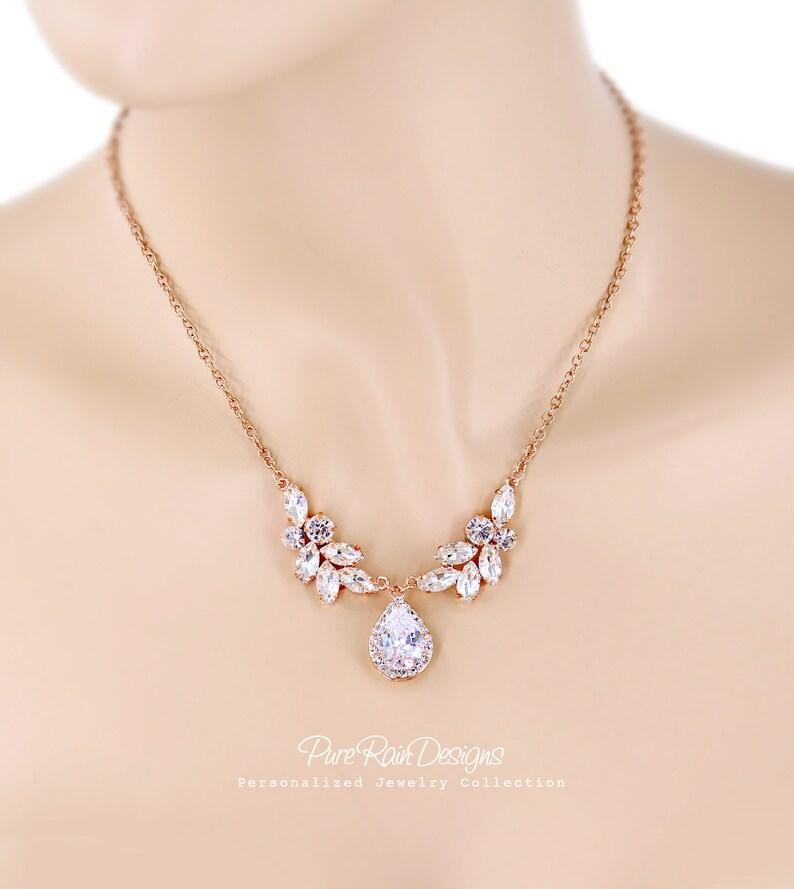 Wedding Necklace Earrings Teardrop Zirconia pendant Necklace Earrings Wedding Jewelry Wedding Accessory Bridal Jewelry Bridesmaid Gift Daisy