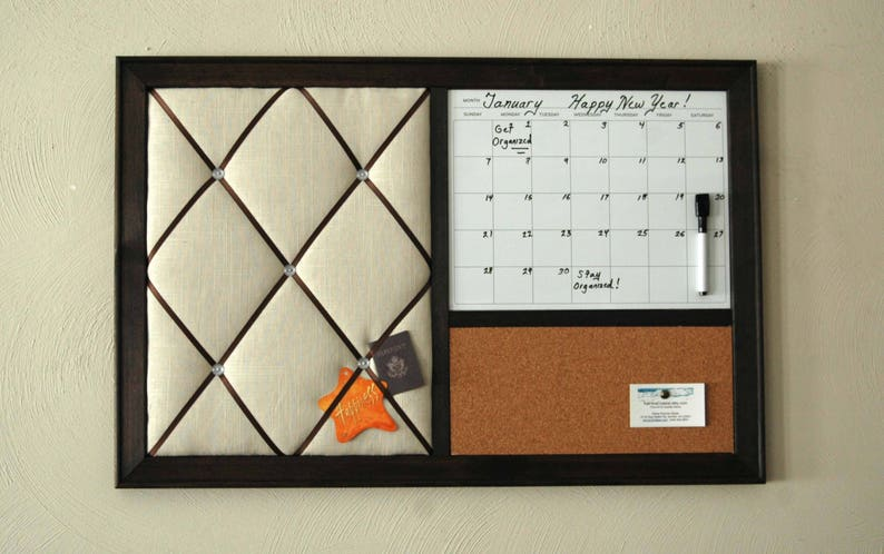 Merveilleux Wall Calendar, Dry Erase Calendar, Cork Board, French Memo Board, Wall  Organizer, Entryway Organizer, Command Center, Monthly Calendar