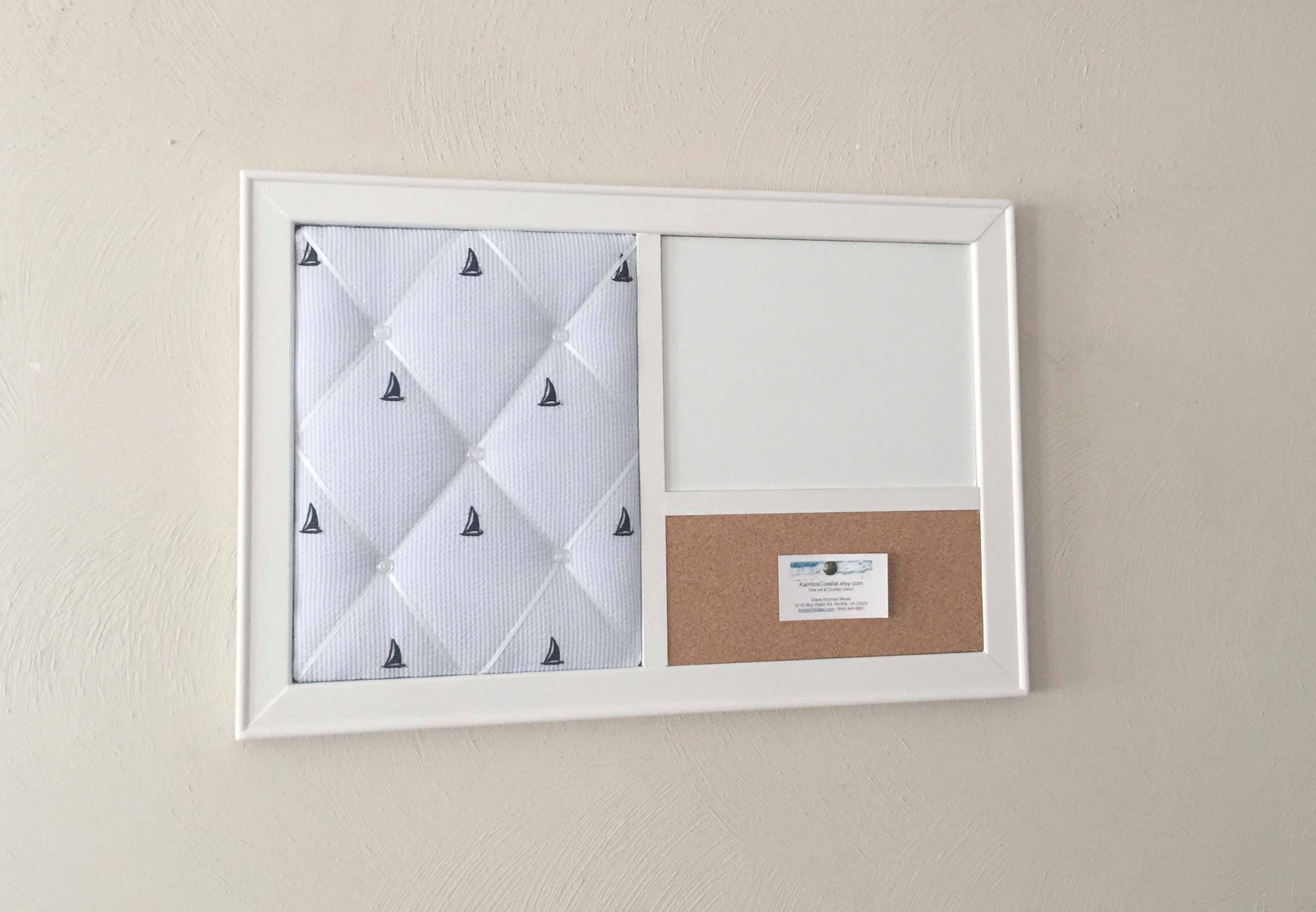 Nautical French Memo Board Magnetic Whiteboard Corkboard Wall Organizer In A White Frame Nautical Nursery Decor Blue Boys Room