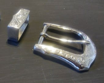 Silver plated belt buckle