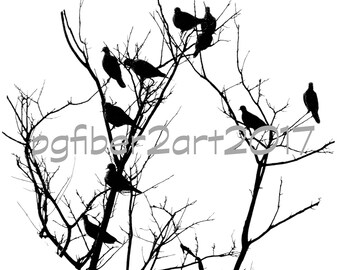 Thermofax Screen Circular Birds in a Tree