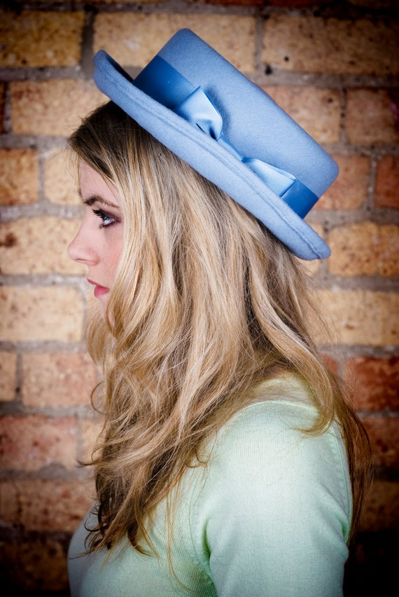Handmade ladies porkpie hat in powder blue with vintage  d3e3ff20349