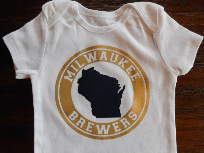 e91d45134 Gender neutral Milwaukee Brewers Bodysuit Wisconsin Brewers