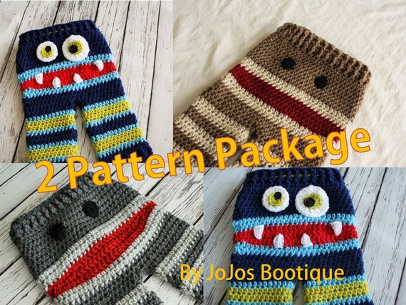 Baby Pants Patterns Crochet Monster And Sock Monkey Pants Etsy