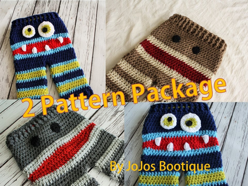 Baby Pants Patterns Crochet Monster And Sock Monkey Pants Etsy