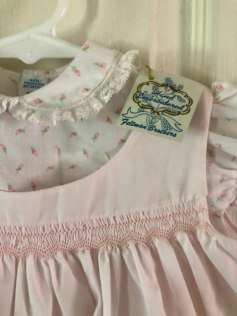 Hand Smocked Baby Dress size 3-6 mths Deadstock with tags Pinafore and Rosebud top 2 Piece Vintage Feltman Bros