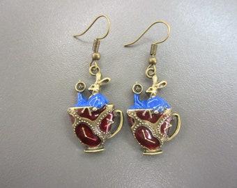Alice Earrings March Hare Earrings Wonderland Earrings Fairy Tale Earrings Fandom Earrings Story Book Earrings Looking Glass Earrings