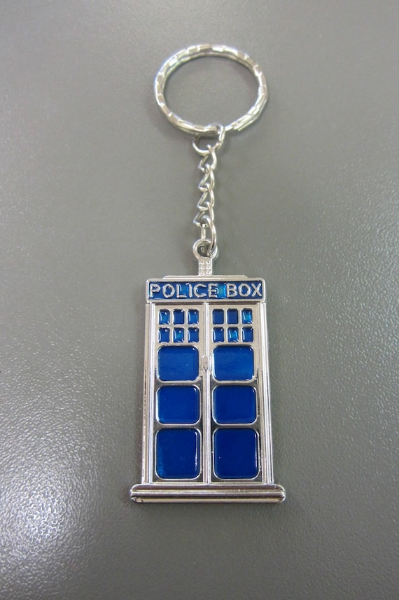 engraved police box keyring keychain in gift pouch PL15 Personalised