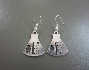 Science Flask Earrings - Chemistry Equipment Earrings  - Chemistry Earrings - Science Earrings - Chemistry Beaker Physics Biology Flask