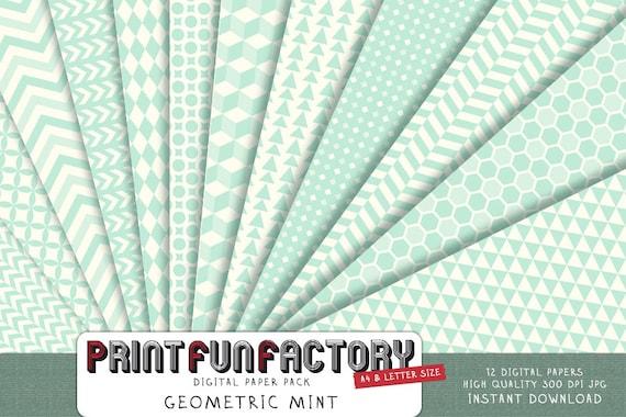 Mint geometric digital paper background paper digital mint etsy solutioingenieria Choice Image