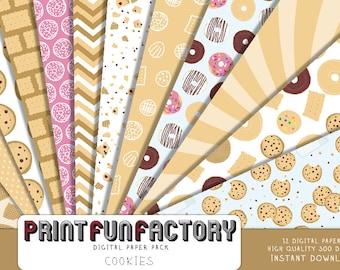 Cookies digital paper - milk and cookies paper cookie crumbs paper cookie wall paper - 12 digital papers (#215) INSTANT DOWNLOAD