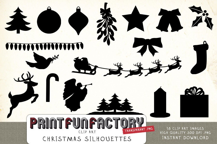 Weihnachten Silhouetten Clipart INSTANT DOWNLOAD   Etsy