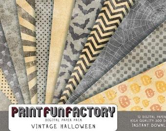 Halloween digital paper - Vintage Halloween scrapbook paper with distressed look - 12 digital papers (109) INSTANT DOWNLOAD