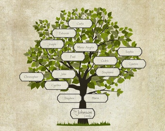 Family Tree printable papercraft - Aged look (PC002) INSTANT DOWNLOAD