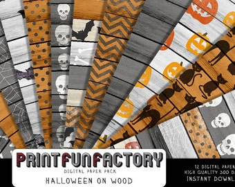 Halloween digital paper - 12 digital Halloween patterns on wood papers (#167) INSTANT DOWNLOAD