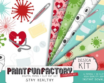 Virus digital paper health clip art - virus clip art, educational clip art, quarantine clip art - design kit (DK005) INSTANT DOWNLOAD
