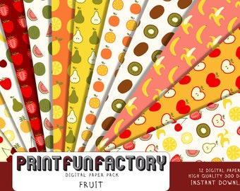Fruit digital paper - fruit paper sliced fruit paper wall paper - 12 digital papers (#218) INSTANT DOWNLOAD