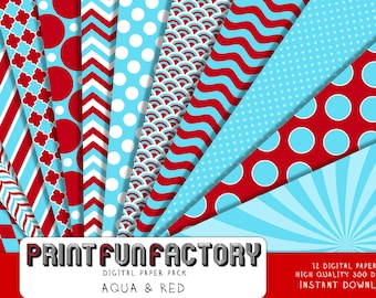 Aqua blue and red digital paper - blue and red patterns chevron swirl dots - 12 digital papers (#211) INSTANT DOWNLOAD