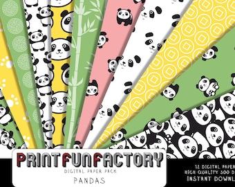 Panda digital paper - Panda black and white, green, yellow background paper  - 12 digital papers (#210) INSTANT DOWNLOAD