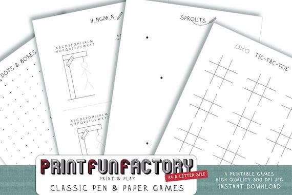 Para Imprimir La Pluma Y Juegos 4 Clasico Lapiz De Papel Y Etsy