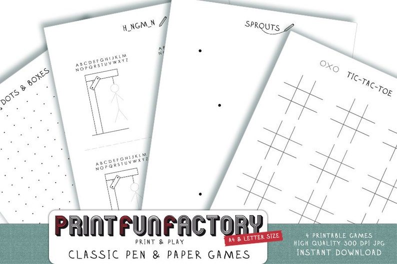 Printable Pen Paper Games 4 Classic Pen And Paper Games Etsy