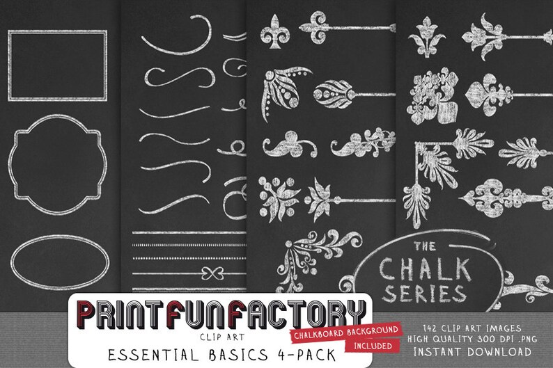 Chalk clip art  Discount pack Essential Basics  digital image 0
