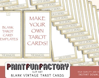 Tarot vintage cards blank middle - digital file - customize it yourself with your own design - digital clip art INSTANT DOWNLOAD