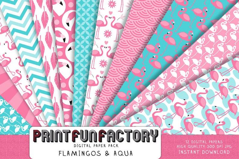 Flamingo digital paper  Flamingo aqua & pink background paper image 0