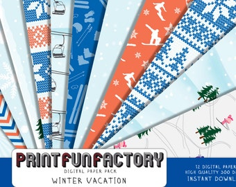 Winter vacation digital paper - ski vacation winter holiday - 12 digital papers (#198) INSTANT DOWNLOAD
