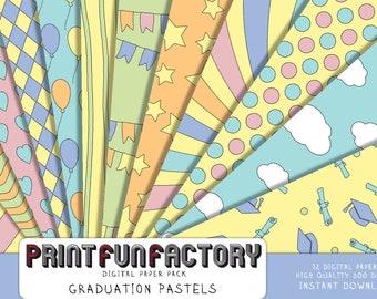 Graduation digital paper - pastel graduation school party - 12 digital papers (#212) INSTANT DOWNLOAD