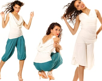 Top for Tango, Salsa, Dance, Summer and More. Party and dance top AMALFI, in cream-colored jersey. Waterfall top.
