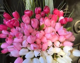 Pink and White Tulips Summer Wreath