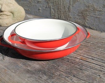 Garcima Polished Steel Paella Pan Grey 80 cm Retro Red Enamal Pans, Cookwar