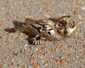 Owl Brooch, TACO Owl Brooch, Owl Jewelry, Owl Pin Big Eyes, Fun Owl Gold Tone Owl