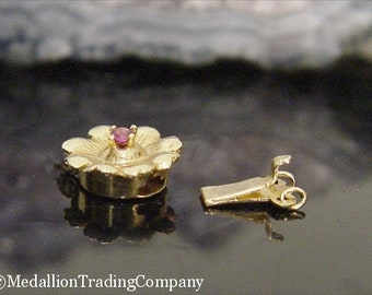 Sterling Silver Lobster Clasp Peach Peals Gold Pearls Ruby Berber Silver