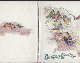 Birthday Greetings mini book by M.A. Donohue & co 1909 Birds and flowers