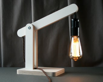 minimalist lamp - white laminated birch plywood lamp, this edison light can also be used as a wall lamp.