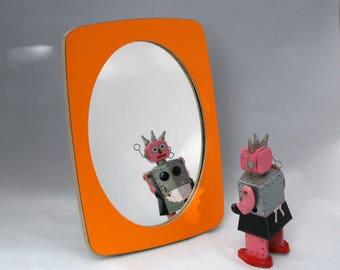 Makeup mirror - Orange mirror made from laminated birch plywood. Great bedroom dresser mirror or bathroom mirror