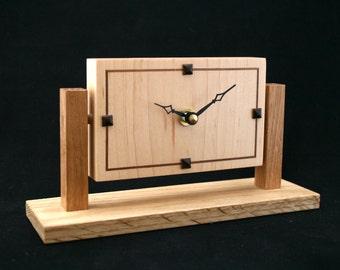 Contemporary Art Deco clock. Handmade wooden clock, for mantel, desk, table or shelf clock. Small wooden clock using minimalist design
