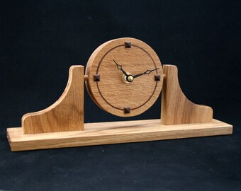 Desk clock - Modern clock, Made from oak and walnut 'Napoloeon's hat' design