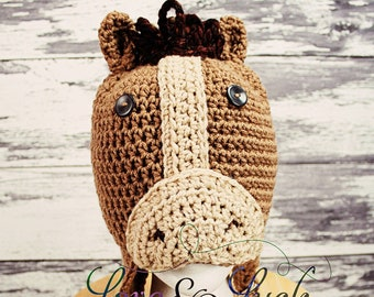 Horse Crochet Hat -Brown with Ear flaps and ties -Baby Toddler Child Adult sizes