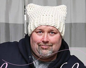Ready to ship- Mens White Pussyhat - Crochet Cat Hat -Cat Ears Hat - Women's March - white hat- pussy hat- Patriotic