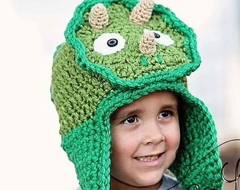 Dinosaur Crochet hat with earflaps MADE TO ORDER Triceratops- Dino For Boys Or Girls Toddler Child and Adult Sizes - Very Warm Winter Hat