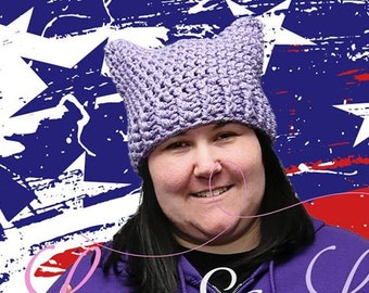 Lavender READY to ship Pussyhat - Purple-Crochet Cat Hat -Cat Ears Hat - Kitty- Ladies - Women's March - lavender hat- pussy hat-