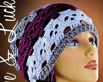 Skull Crochet Hat for Adults Skullcap Slouchy Beanie cap Women Men